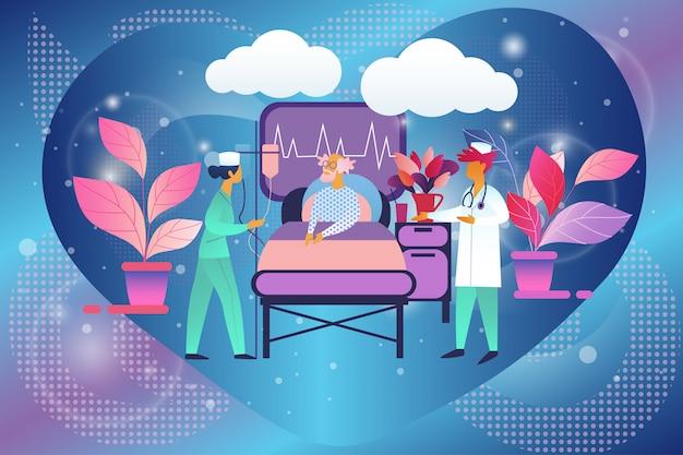Médico y enfermera en la cámara visitan a paciente mayor