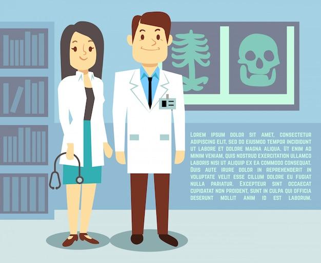 Médico y enfermera del hospital en el hospital