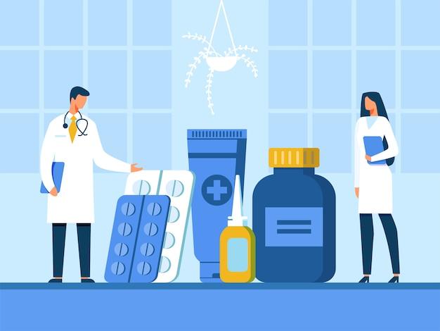 Médico y enfermera presentando nuevas drogas ilustración