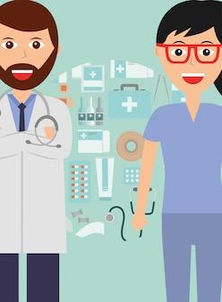 Médico y enfermera profesión médico salud