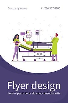 Médico y enfermera que brindan atención médica al paciente en la cama plantilla de volante plano aislado