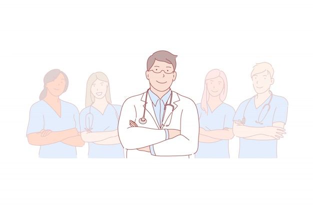 Médico, equipo, liderazgo, ilustración de pasantía