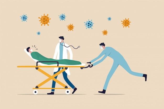 Médico con equipo médico montando cama con paciente crítico de neumonía por coronavirus covid-19 a la sala de emergencias