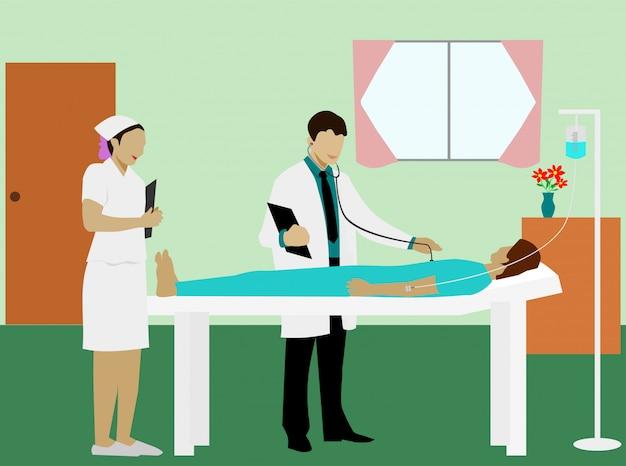El médico estaba examinando a los enfermos, acostado en la cama con una enfermera de pie junto a una habitación especial.
