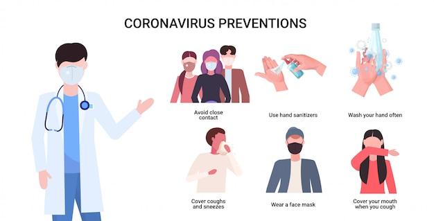 Médico explicando las medidas de protección básicas para la prevención del coronavirus protéjase de 2019-ncov
