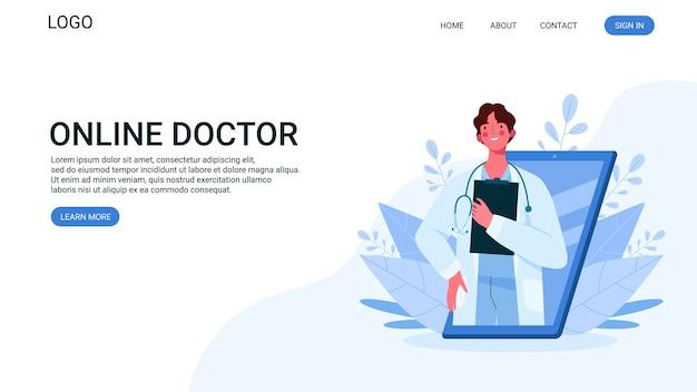 Médico de familia con estetoscopio en la página de destino del teléfono inteligente