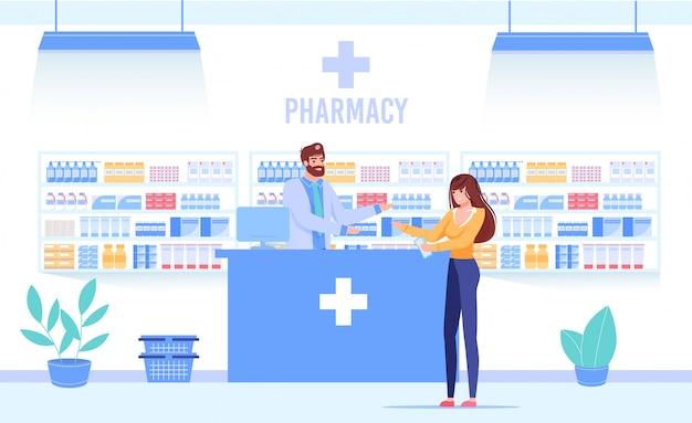 Médico farmacéutico con cliente en mostrador de farmacia