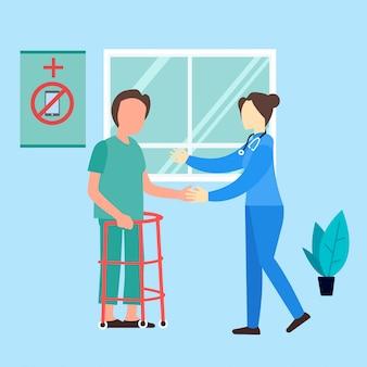 Médico femenino médico enfermera ayuda paciente ilustración