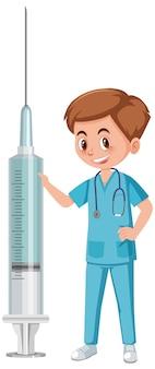 Un médico hombre sujetando la jeringa de vacuna sobre fondo blanco.