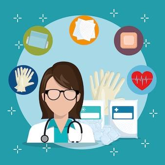 Médico con iconos de servicio médico