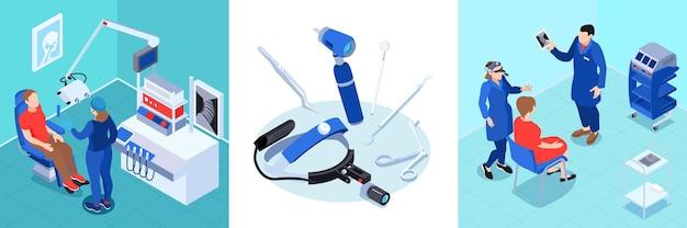 Médico isométrico con conjunto de composiciones cuadradas con pacientes de equipos médicos y otorrinolaringólogos.