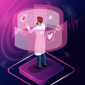 El médico isométrico diagnostica la enfermedad y monitorea su desarrollo, prescribe un medicamento para el tratamiento, examina las pruebas, trabaja con tecnologías de alta tecnología