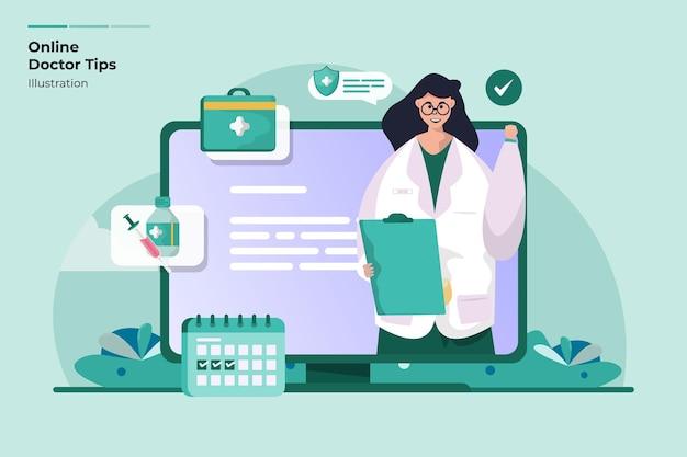 Médico en línea comparte el concepto de ilustración de consejos médicos