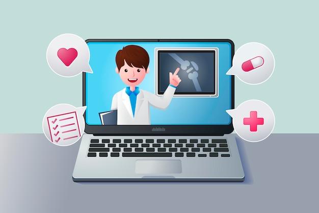 Médico en línea dando consejos y ayuda en la computadora portátil