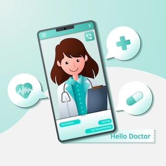 Médico en línea dando consejos y ayuda en el teléfono móvil