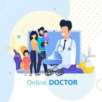Médico en línea para la familia de publicidad plana