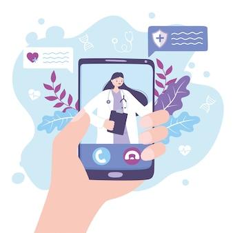 Médico en línea, mano con practicante de teléfono inteligente en video asesoramiento médico o servicio de consulta