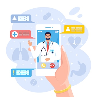 Médico en línea. medicina virtual. usando la aplicación móvil para llamar al médico. pregúntele al médico. consulta de salud, diagnóstico. asimiento de la mano teléfono móvil sobre fondo blanco.