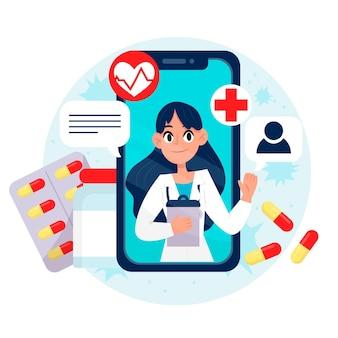 Médico en línea que habla sobre el tratamiento y las píldoras.