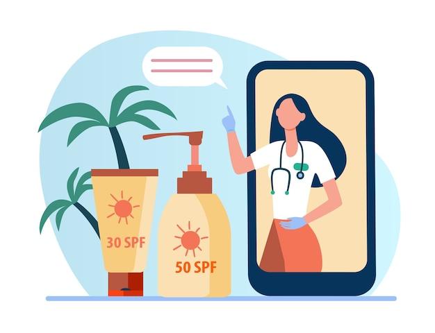 Médico en línea que recomienda protector solar. pantalla del teléfono, botella de bloqueador solar, tubo de loción ilustración plana.