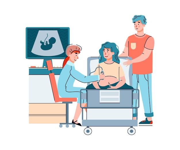Médico y matrimonio esperando un bebé haciendo un chequeo de feto por ultrasonido