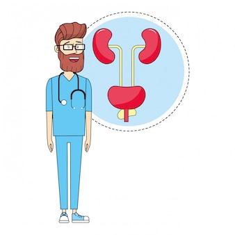 Médico y medicina de dibujos animados