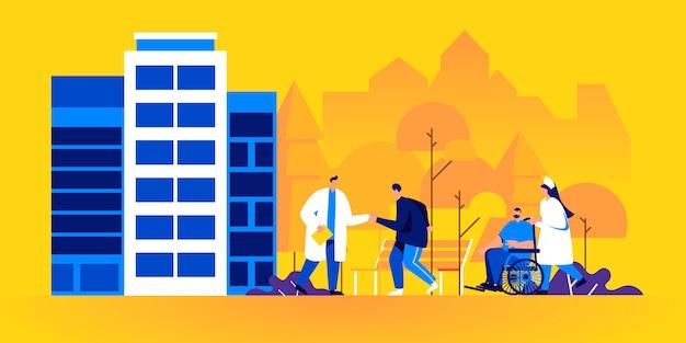 Médico, médico o médico se encuentran con pacientes fuera del hospital