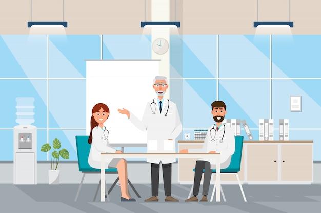 Médico con médico y pacientes en caricatura plana en el hall del hospital