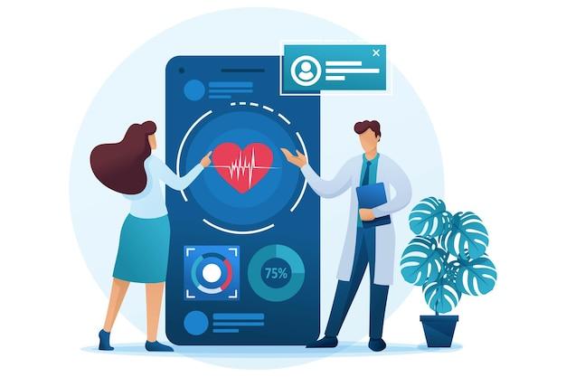 El médico le muestra al paciente cómo usar la aplicación para mantener la salud.