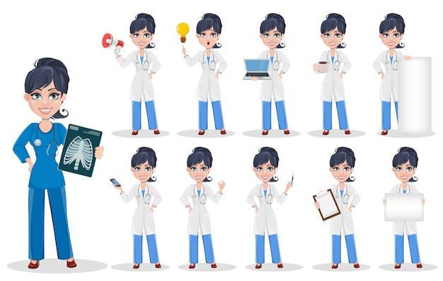 Médico mujer, personal médico profesional.