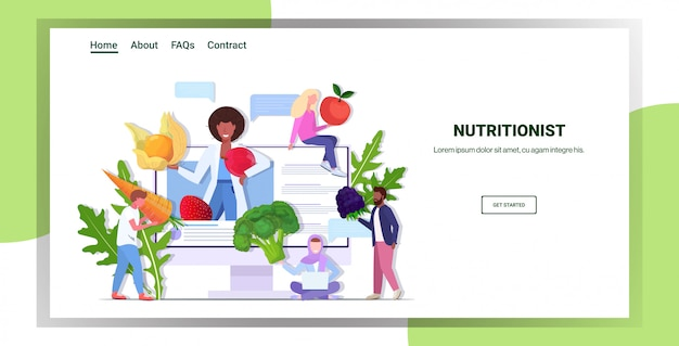 Médico nutricionista explicando a los pacientes de raza mixta propiedades de verduras frescas frutas hierbas bayas nutrición estilo de vida saludable en línea concepto de consulta médica copia espacio horizontal