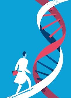 Médico o científico caminando sobre hélice de adn