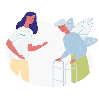 Médico o enfermera en comunicación con mujer mayor