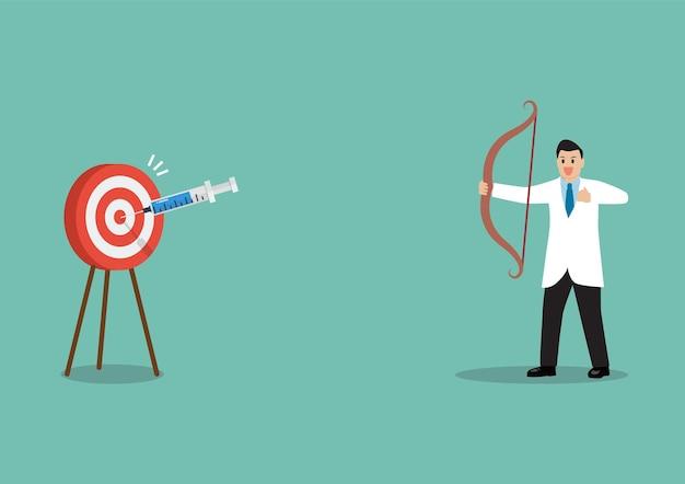 Médico o personal de investigación médica que dispara la jeringa de la vacuna como flecha que golpea el objetivo de la diana concepto de éxito del descubrimiento de la vacuna covid-19.