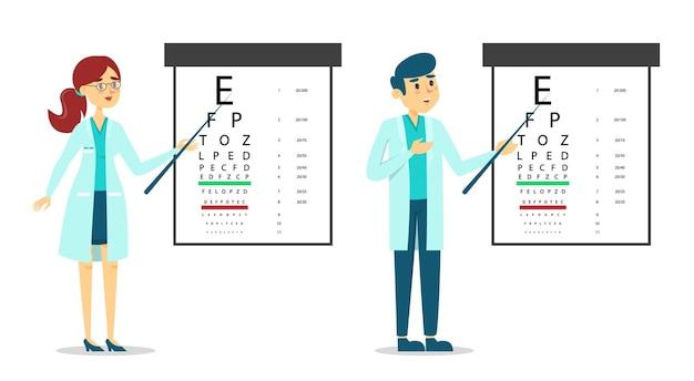 Médico oculista femenino y masculino de pie en la mesa de control de la vista.