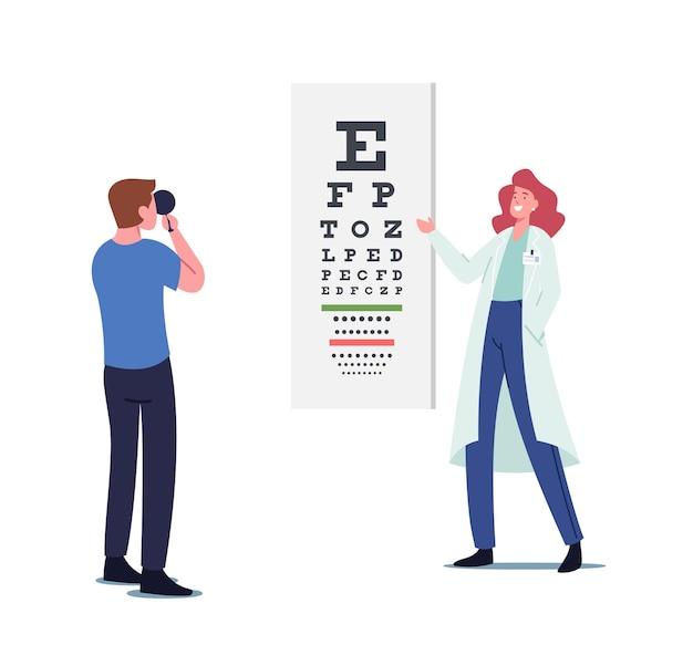 El médico oftalmólogo revisa la vista del paciente antes de la corrección con láser. examen ocular de conducta de carácter oculista, tratamiento de examen óptico profesional, atención médica. ilustración de vector de gente de dibujos animados