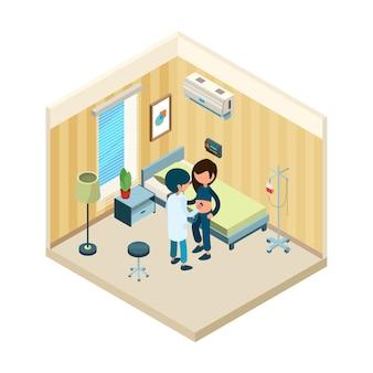 Médico y paciente. médico de pie cerca de la cama del paciente en el tratamiento hospitalario concepto isométrico