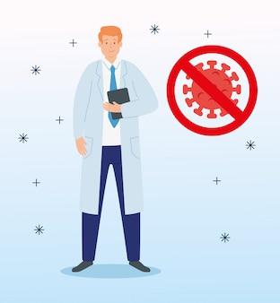 Médico con partícula de coronavirus 2019 ncov en señal prohibida