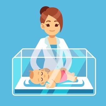 Médico pediatra y pequeño bebé recién nacido dentro de la caja de la incubadora en el hospital. ilustración de vector médico neonatal, prematuridad, cuidado infantil