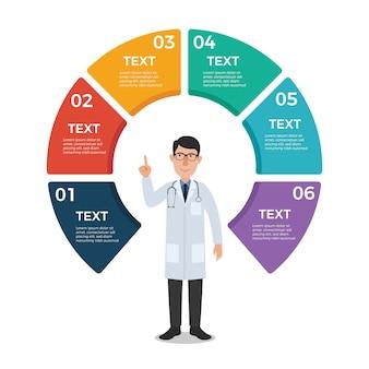Médico con plantilla de infografía círculo gráfico