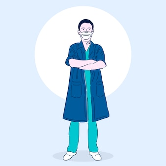 Médico profesional en una máscara médica. superhéroe. trabajador médico. ilustración de vector de estilo lineal moderno.