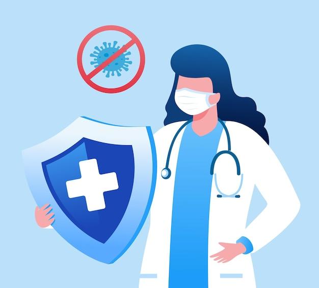 Médico con protección de escudo ilustración vectorial plana para banner