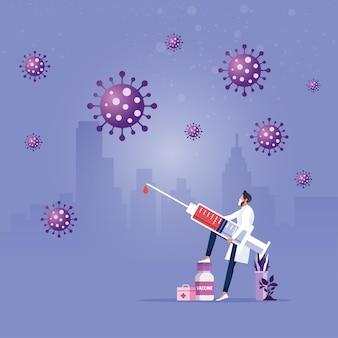 Médico que lleva una gran jeringa con vacuna luchando contra un brote de coronavirus