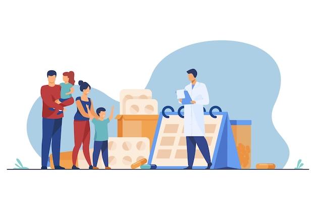 Médico que receta medicamentos a la familia feliz. pediatra, padres, niños ilustración plana