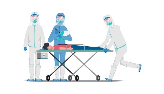 Médico que salva a los pacientes del brote de coronavirus y lucha contra el covid-19.