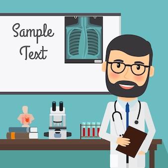 Médico con radiografía y equipamiento médico.