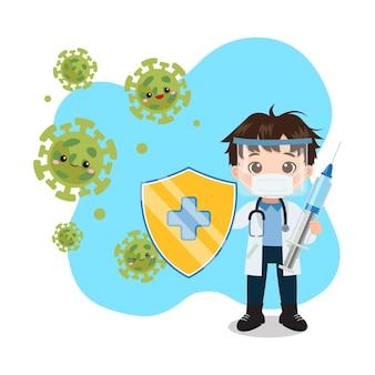 Médico de sexo masculino lindo lucha contra el virus de la corona con escudo y jeringa detener el concepto de covid dibujos animados de vector plano