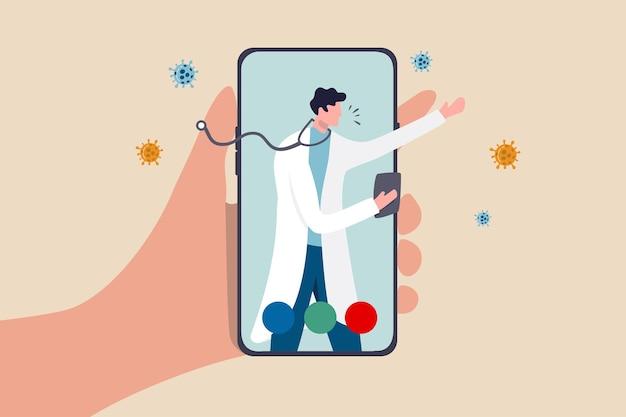 El médico de tecnología de atención médica de telesalud puede diagnosticar y ayudar al paciente a través del teléfono móvil o el concepto de teleconferencia, la mano del paciente lleva la aplicación móvil con el médico, el médico diagnostica los síntomas del virus.