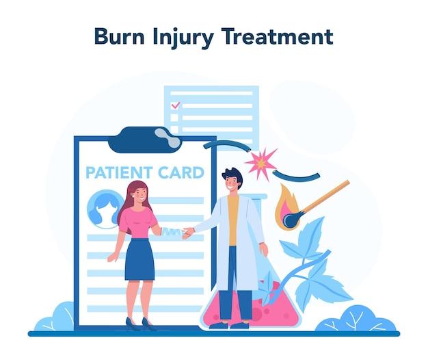 Médico traumatólogo y traumatólogo. tratamiento de lesiones por quemaduras en la piel. primeros auxilios por daños por herida térmica. ilustración de vector aislado
