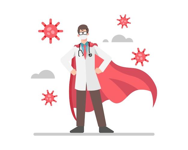 Un médico usa capas rojas como superhéroe luchando con la ilustración del coronavirus